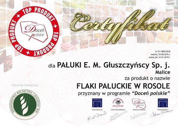 Certyfikat Flaki Pałuckie wrosole