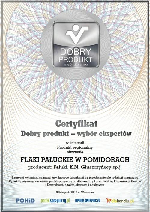 Certyfikat Dobry Produkt - wybór ekspertów w kategorii Produkt Regionalny