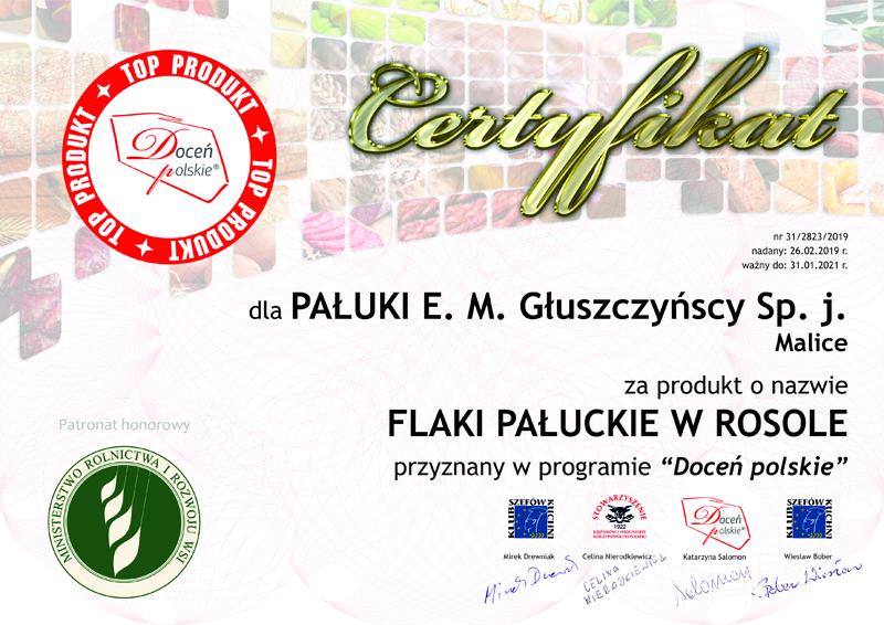 Certyfikat Flaki Pałuckie w rosole